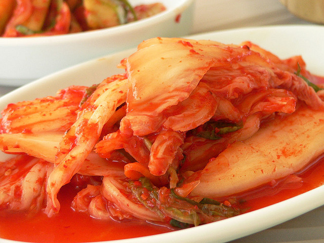 Kimchi is fermented. The vegan version uses seawater and no fish oil. This dish taste amazing. But it smells like something died in the pantry wearing 2 week old sweatpants.