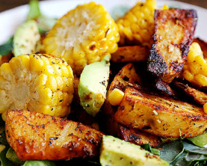 roasted potato and roasted corn with spinach salad