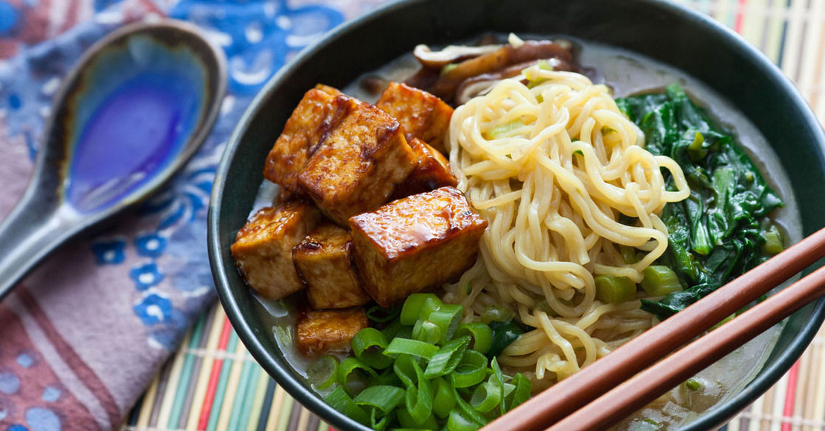 Shiitake Ramen And Miso Vegetables With Tofu