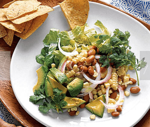 Southwestern Salad with Corn and Avocado I feel spicy and adventurous sometimes! This is why I have always loved dishes with a Southwestern flair. And it's also the reason I had to try this interesting twist on salad. Of course it uses avocado which was my goal, but it also mixes things up with red onion, pinto beans and more.