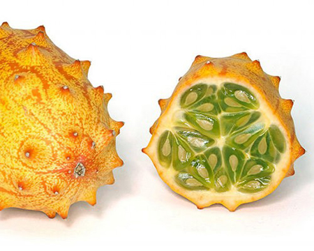 The African Horned Cucumber is a bizarre looking fruit that has bright colors and rigid spike on it's skin. It get's it's name from it's resemblance to the horned toad. Despite it's looks this fruit is said to be quite delicious. It's taste has been compared to a combination of banana, cucumber and lemon.