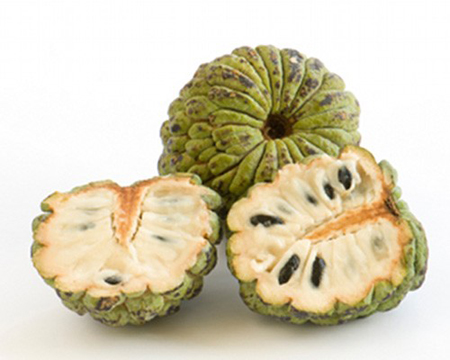Mark Twain said the Cherimoya was the most delicious fruit known to men. This fruit is native to the Andes and can be found on trees that grow up to 30 feet tall. The flesh of the fruit is very pulpy and sweet. It has large black seeds that aren't edible and neither is the rind. You can actually fine these at some larger stores and markets depending on where you live.