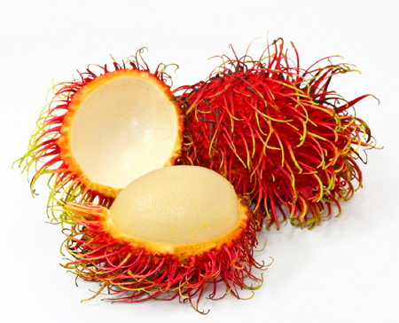 The word 'Rambutan' is the Malay word for Hairy. It's the perfect word to describe the outside of this fruit but the inside is more like a grape. This fruit is said to be very sweet and delicious!