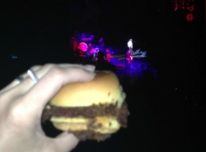 Eating a slider while on stage Morrissey is singing meat is murder