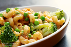 mac and cheese with green veggies