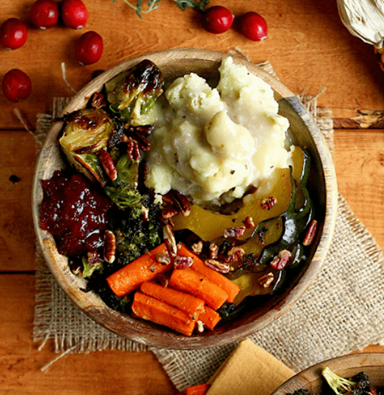 Vegan Thanksgiving roasted veggie bowl 2