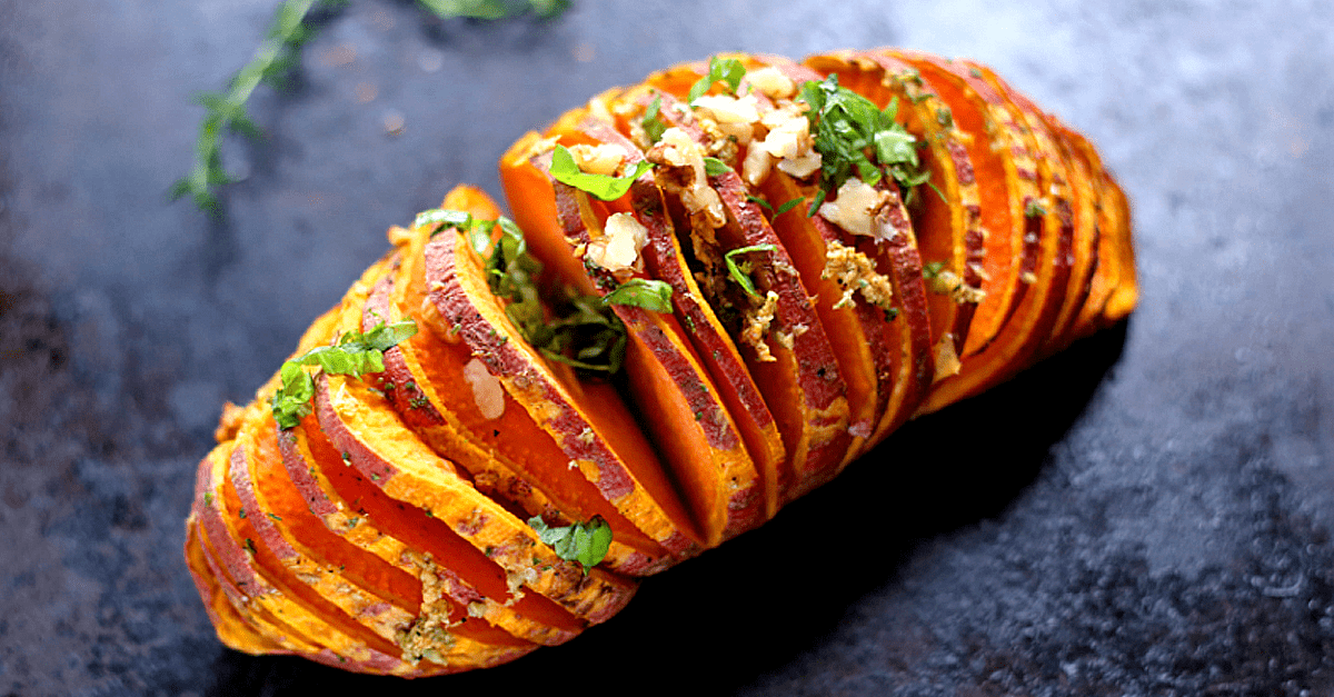 vegan hasselback sweet potato easy recipe - Easy Vegan Hasselback Sweet Potatoes