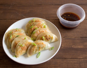 vegan potstickers and dipping sauce