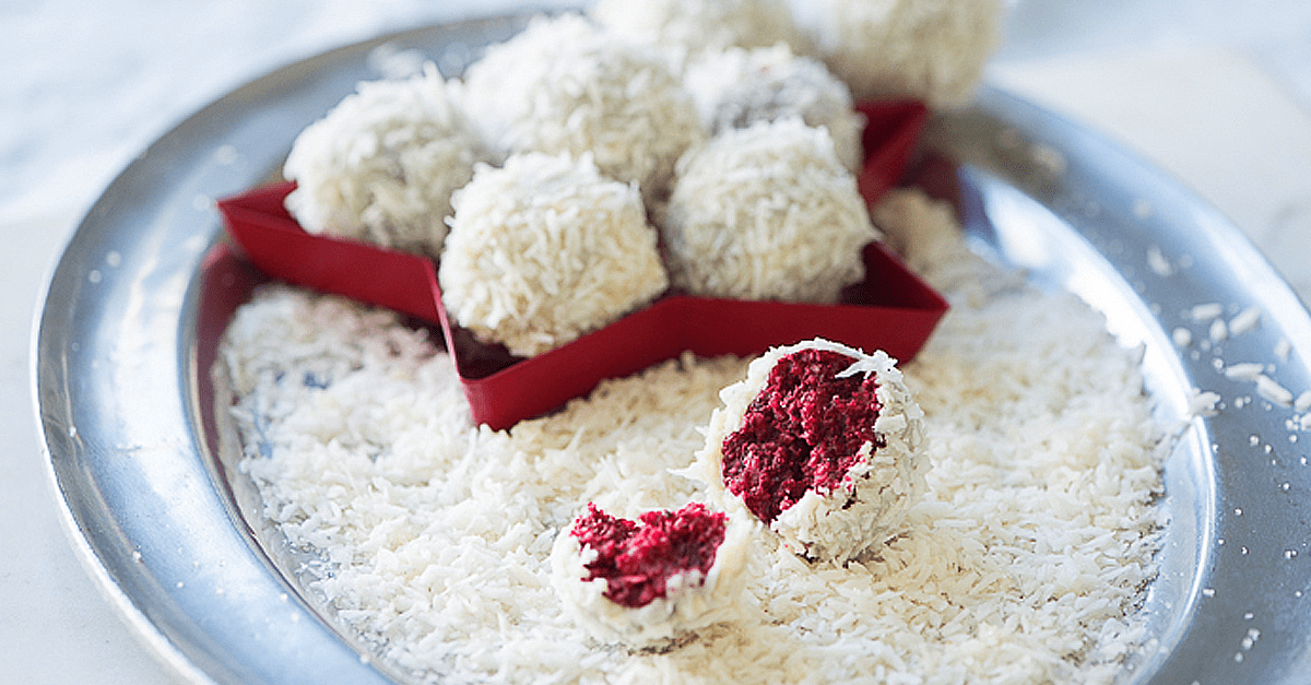 how to make vegan red velvet snowballs recipe - Vegan Red Velvet Snowballs