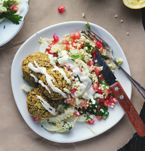 how to make vegan baked falafels with tabbouleh, tahini and zaatar
