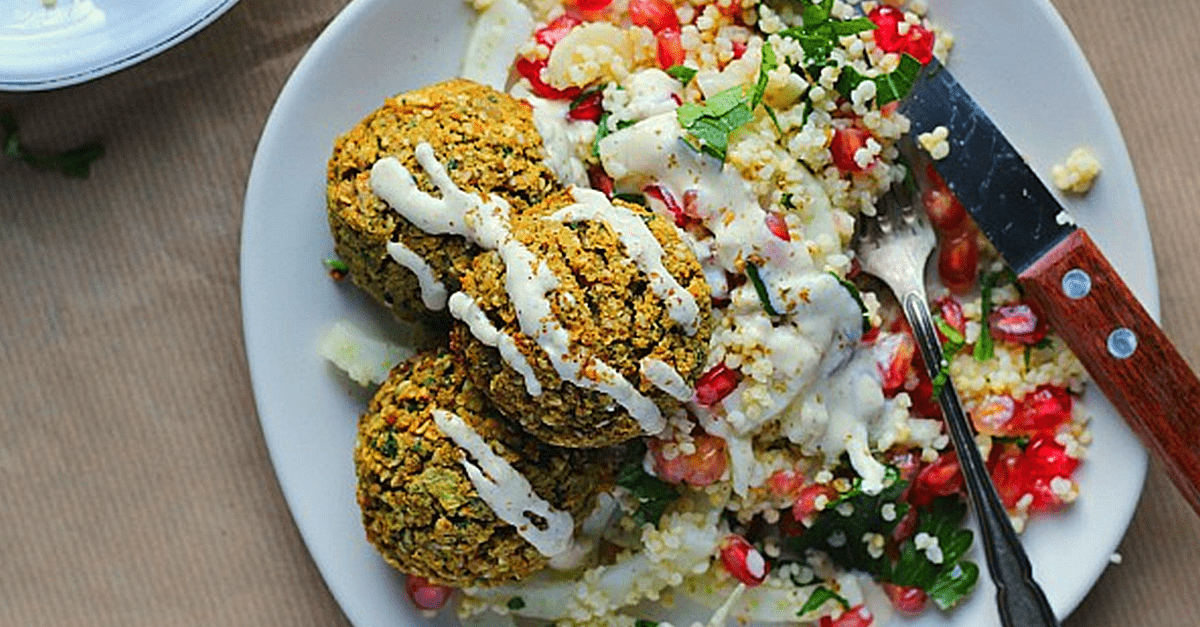 how to make vegan baked falafels with tabbouleh tahini and zaatar recipe - Vegan Baked Falafels With Tabbouleh