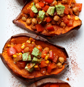 how to make vegan baked sweet potatoes stuffed with chickpea chili