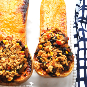 how to make vegan black bean chili butternut squash boats
