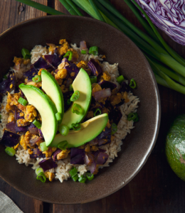 how to make vegan chickpea scramble and red cabbage brown rice bowl