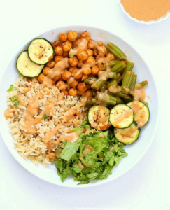 how to make vegan masala chickpea bowl with spice chana masala dressing 243x300 - Vegan Masala Chickpea Bowl With Spice Chana Masala Dressing