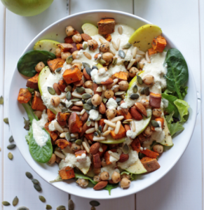 how to make vegan sweet potato with apple salad with miso dressing