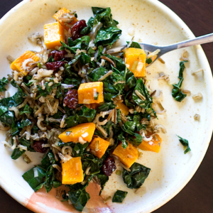 how to make vegan wild rice and butternut squash salad with maple balsamic dressing