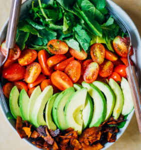 vegan coconut bacon and cobb salad