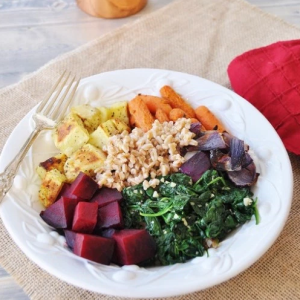 how to make vegan roasted root vegetable and farro salad