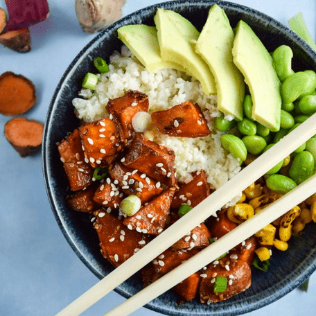 how to make vegan teriyaki cauliflower rice bowls