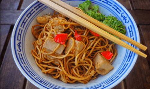 Vegan Singapore Noodles With Fried Tofu