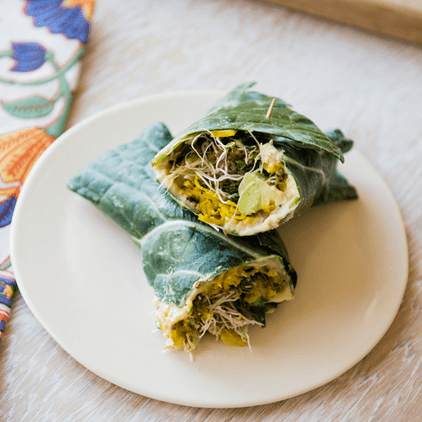 how to make vegan collard hummus wraps with golden beets and sprouts