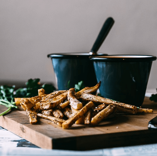 how to make vegan harrisa tomato soup and zaatar roasted parsnip fries