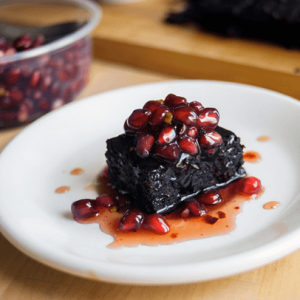 how to make vegan chili pomegranate brownies