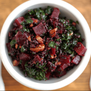 how to make vegan nutty forbidden rice, roasted beet and kale salad