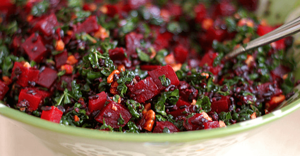 Vegan Nutty Forbidden Rice Roasted Beet And Kale Salad