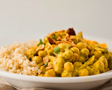 how to make vegan peanut ginger curry chickpeas over brown rice recipe 370x297 - Vegan Peanut Ginger Curry Chickpeas Over Brown Rice