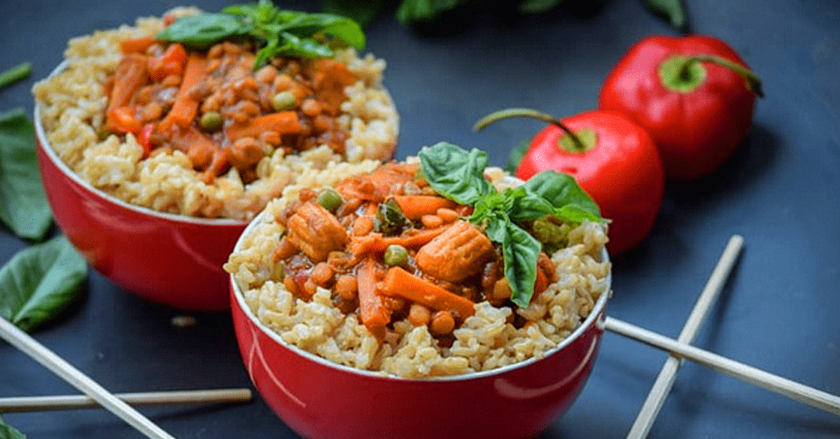 how to make vegan thai basil lentils and toasted sesame coconut brown rice recipe - Vegan Thai Basil Lentils Toasted Sesame Coconut Brown Rice