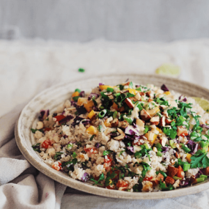 how to make vegan thai cauliflower rice salad with peanut butter sauce