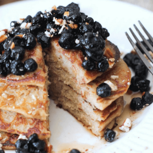 how to make vegan lemon banana ricotta pancakes with dried blueberries campote