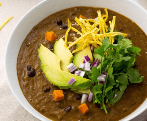 vegan black bean and sweet potato soup plant based easy healthy diet