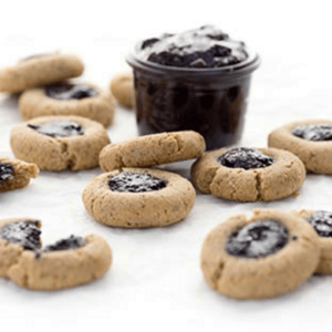 how to make vegan blueberry jam thumbprint cookies