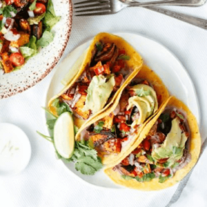 how to make vegan sweet potato tacos with pecan and lime cream