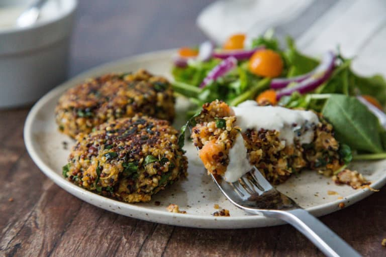 Vegan Golden Quinoa Fritters with a Coconut and Tahini Dipping Sauce