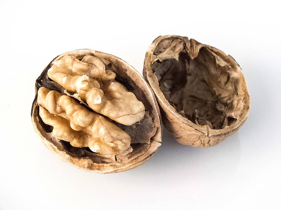 shelled walnut and clean walnut, shelled walnuts on white ground, dry walnut on wooden floor