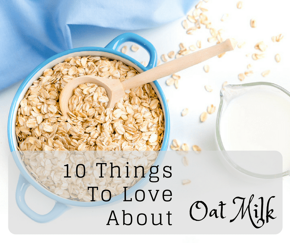 oats in a blue bowl with oat milk