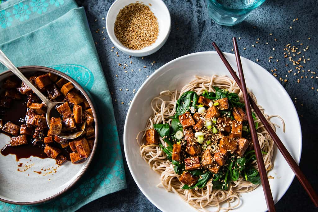 tofu teriyaki with noodles and tofu pressed from EZ tofu press