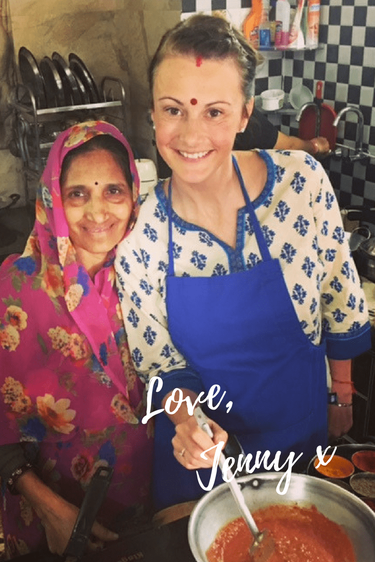 Jenny in india with a cook