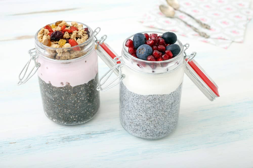 chia seeds in a breakfast jar with fruit